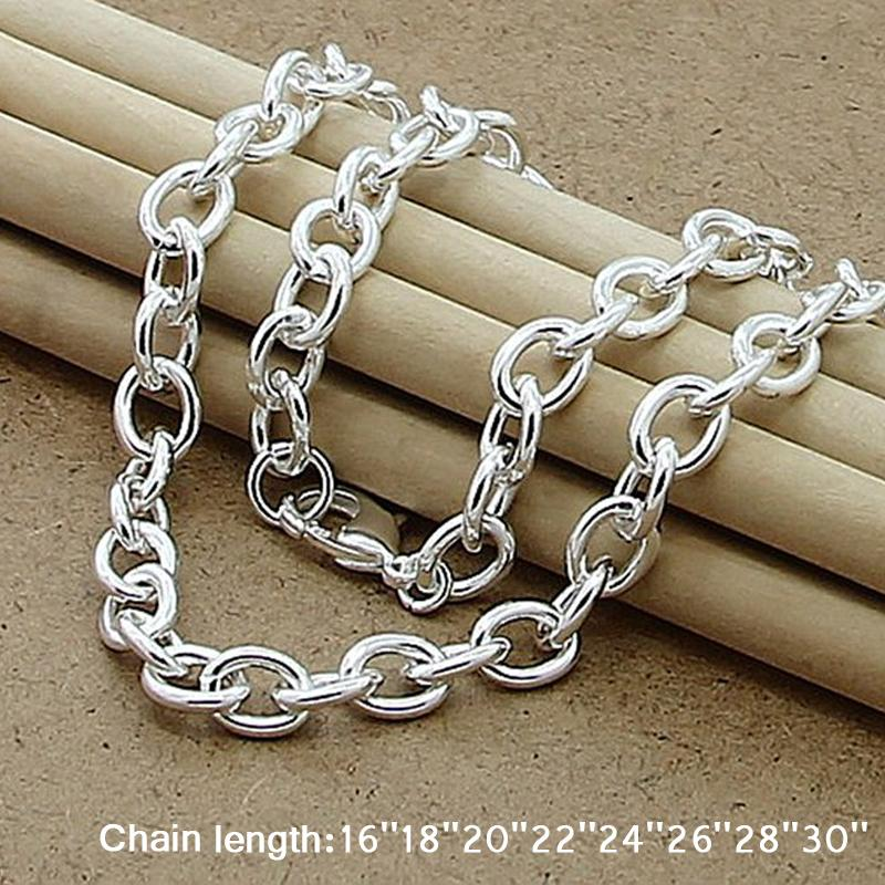 Classic Grund Thick Hummer-Haken-Mann-Halskette 925 Silber Kette-Link Male Frauen Schmuck