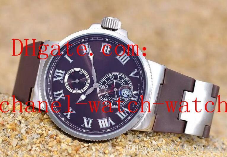 Frete grátis 4 cores Marine Chrono aço inoxidável Mens relógios 266-67-3 / 43 mecânico automático Mens relógio de pulso pulseira de borracha