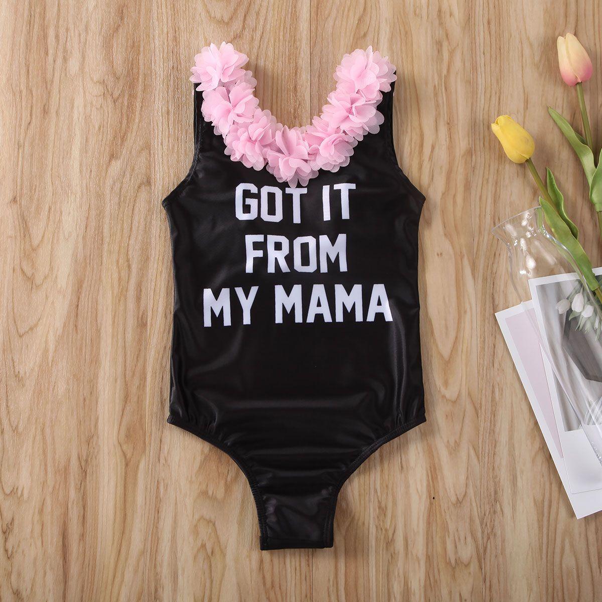 Pudcoco bambina bambino vestiti stampa della lettera di fiori con volant vestito del bikini del costume da bagno dello Swimwear di un pezzo di nuoto Abbigliamento