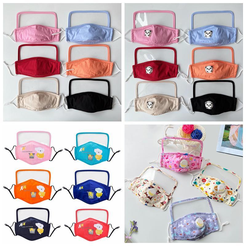 Masque facial avec visière transparent couleur muti bouche en tissu réutilisable masque Enfants unisex masques lavables YYA111