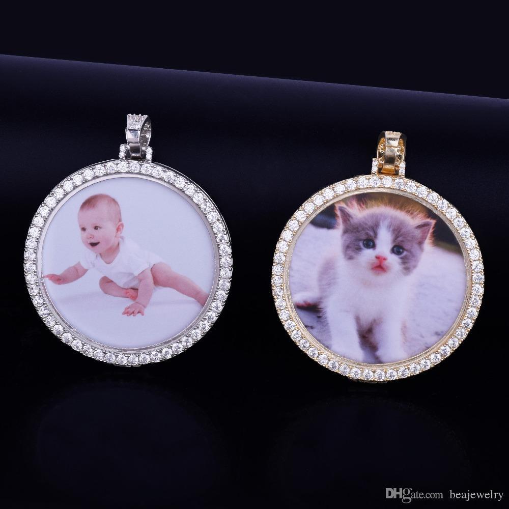 Medalhões de Foto feito Sob Encomenda Pingente de Colar de Pingente de 4mm Cadeia de Tênis Cubic Zircon Homens Hip hop Jóias 5..5x5.5 cm