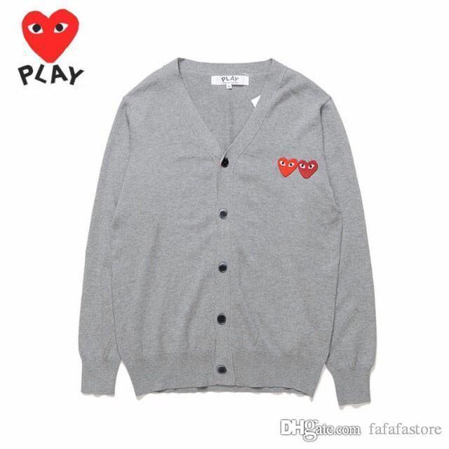 2018 geleni kalite Com Des Garcons C218-1 Gri kazak pamuk hırka Unisex Casual İnce V-Yaka Sweatershirts CDG Erkekler Kadınlar Hoodie Coat oyna