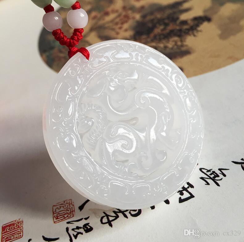 Weiße Jade alte Drachen Anhänger natürliches Afghanistan Jadering antike Drachen Muster Ring Jade Anhänger Hanfu Zubehör Taille Anhänger jad