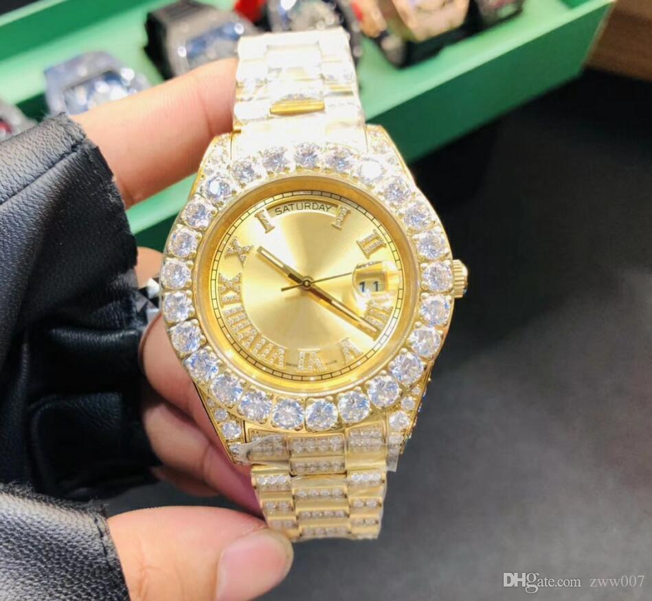 5 Цвет лучшее качество Вечный 43 мм день-дата Полный бриллиантовый безель браслет Римский циферблат ETA 2813 механизм автоматические мужские мужские часы Часы