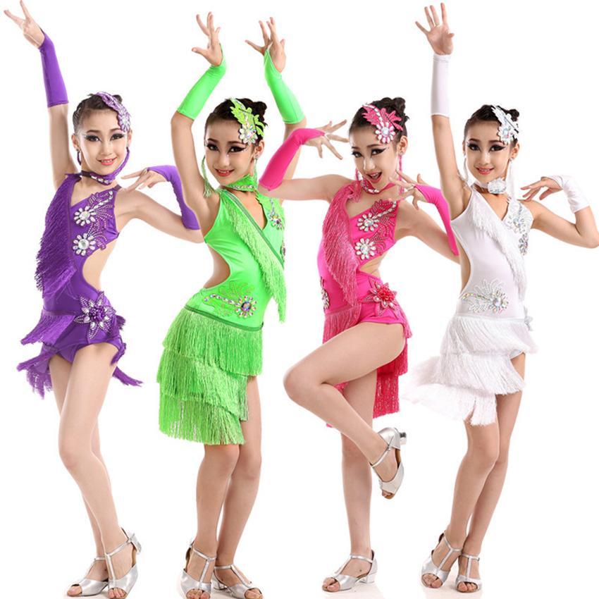 Stage Wear Fringe Dress Baby Girl Costume Adult Women Spandex Salsa/Ballroom/Tango/Cha Latin Dance For Dancing Lady Clothes Tassel