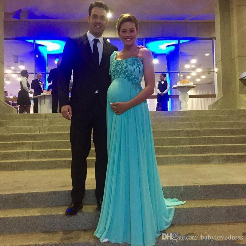 One Shulder Formal Maternity Evening Dresses Turquoise Prom Dresses For Pregnant Party Gowns Women Lace Beaded Chiffon Floor Length Plus