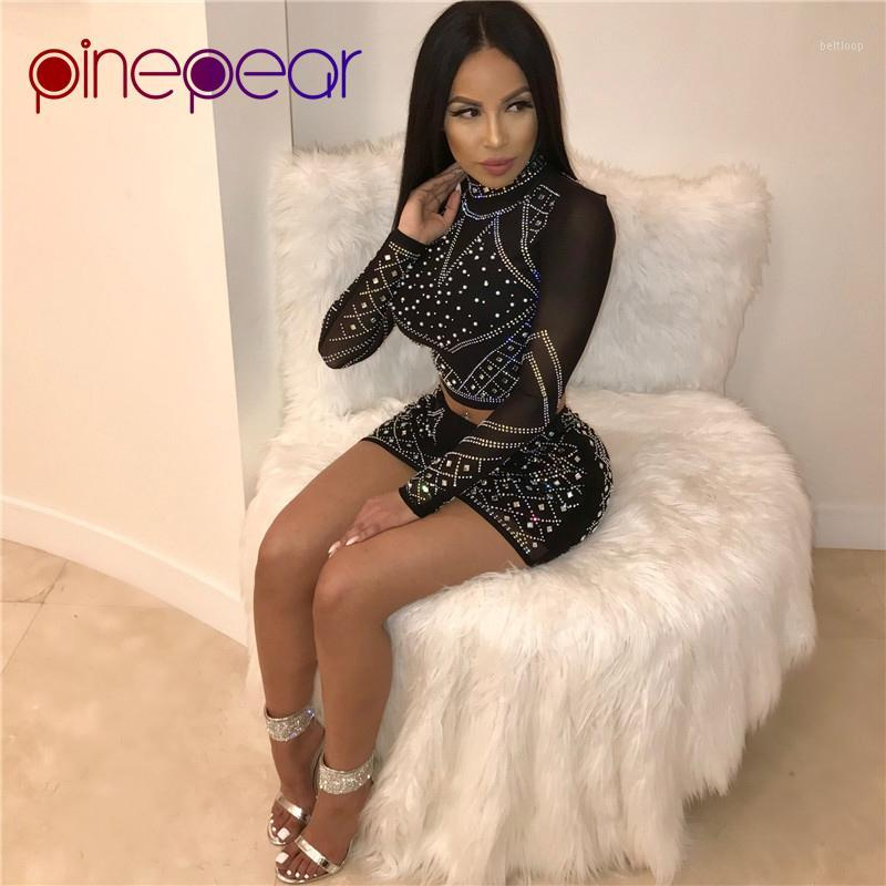 PinePear Turtleneck Night Out Club Mesh Dress Rhinestone Outfits Diamond Long Sleeve Party Sets Sexy Women Short Bodycon Vestido1