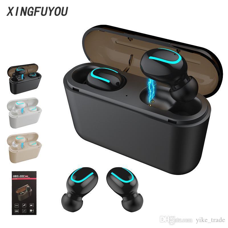Q32 Bluetooth Kopfhörer Mini Wireless Headset Handy-Kopfhörer mit Stereo-Energien-Bank Sports Cordless Freisprecheinrichtung Gaming Mic Earbud