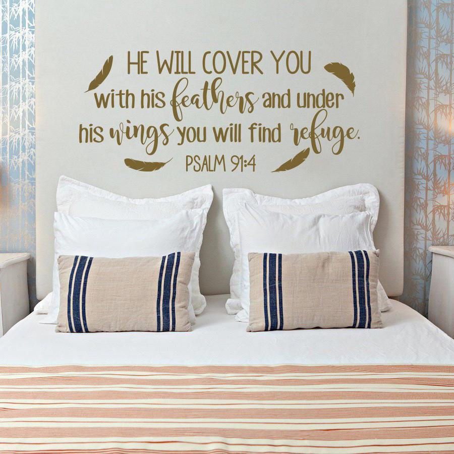 ПСАЛОМ Он прикроет вас с перьями Bible Verse Наклейка Семья винила стикер стены Christian писание Настенный декор