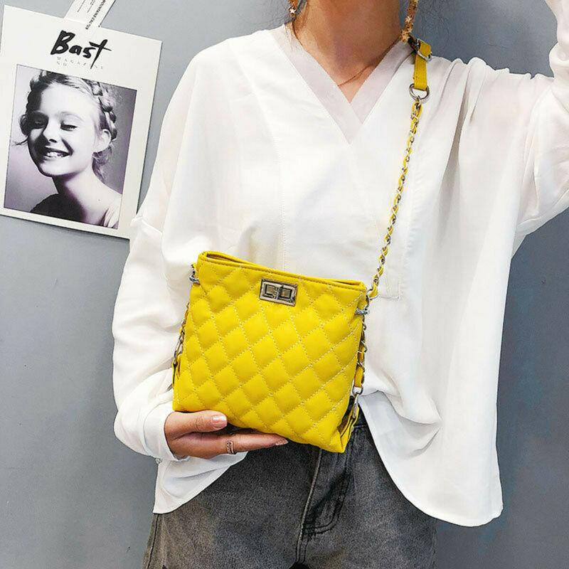 Cruz de las señoras de hombro acolchada bolso de la cadena del oro de imitación de cuero Body Bag