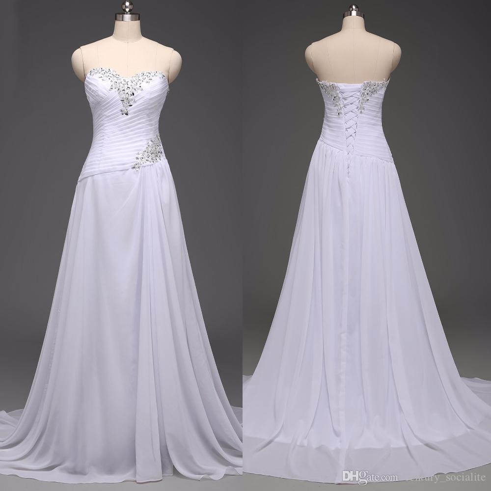 Bohemia gasa vestidos de novia vestidos de novia más el tamaño de una línea de encaje con cordones pliegues de tren de la corte personalizada novia sin mangas 2019