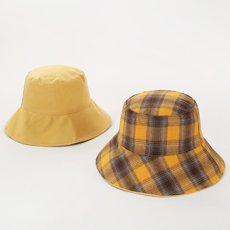 Las mujeres de doble cara del sombrero del cubo de tela escocesa o la pesca color sólido del sombrero visera del verano al aire libre plegable de viaje casquillo de Sun del borde ancho # LR4