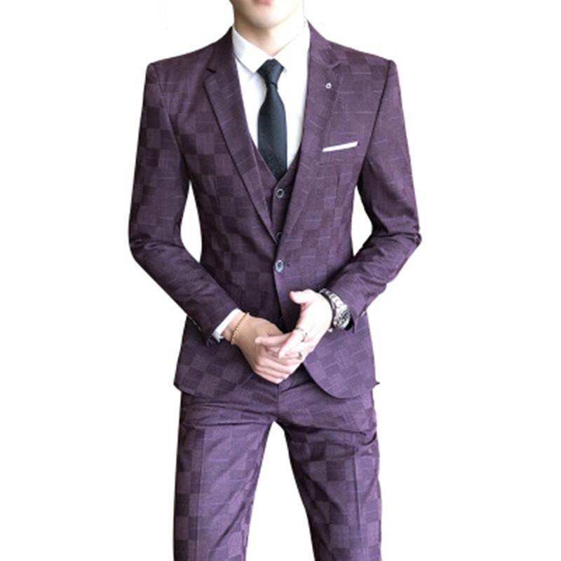 Young Fashion Men Suit Classic Suit Men Elegant Formal Wedding Suits For Retro Costume Homme 3 Pieces Suits
