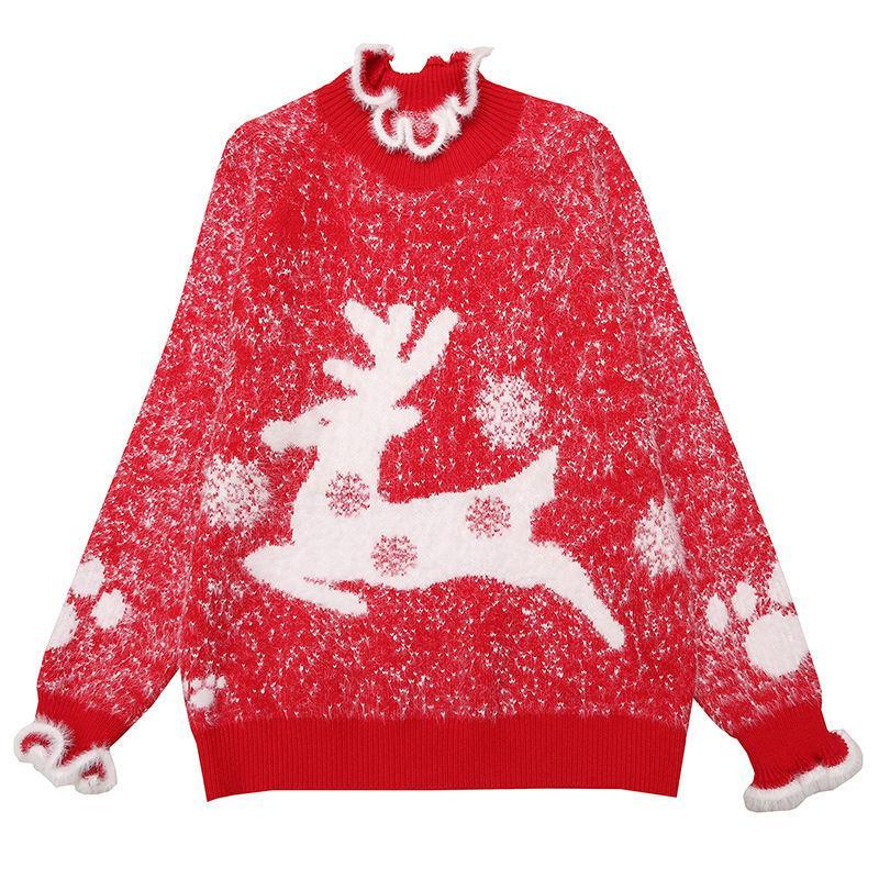 가을 기질 여성의 상위 터틀넥 느슨한 크리스마스 만화 인쇄 된 빨간 스웨터 농축, 긴 소매 스웨터 한 사이즈