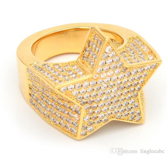 Erkek Moda Bakır Altın Gümüş Renk Kaplama Abartmak Yüzük Yüksek Kalite Buzlu Out Cz Taş Yıldız Şekli Yüzük Takı