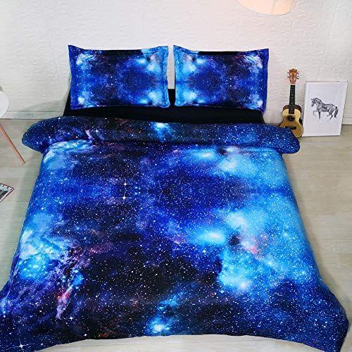 Azul Galaxy camas individuais capa de edredão rainha Zipper Encerramento Black Kids Bed Define Menino e menina 3pc NO Consolador Pillowshams