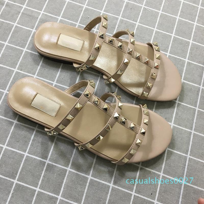 Дизайнерские роскошные женские тапочки новое поступление горячая распродажа заклепки стиль мода стиль Классический качество сандалии размер 35-41 c27