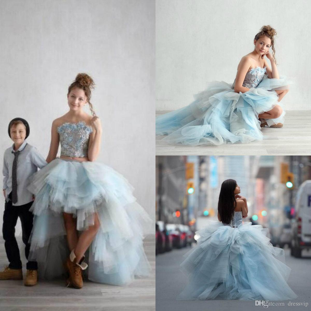 Cute High Low Flower Girl Dresses For Wedding Lace Appliqued Boho First Communion Gowns Strapless A-Line Girls Pageant Dress