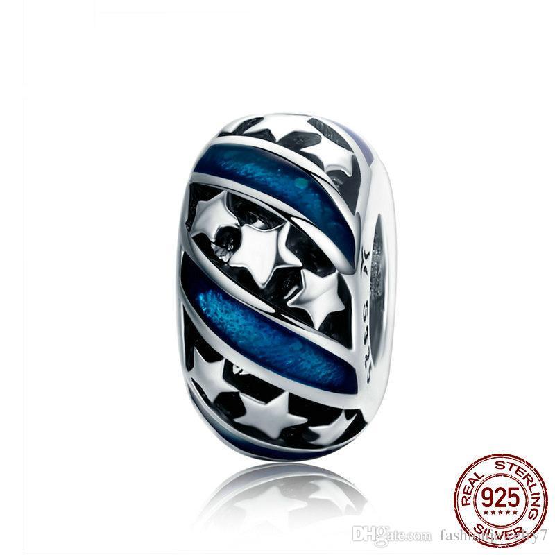 Europe Amérique du véritable argent 925 Sparkling étoile Spacer Perles en émail bleu Bracelet Femme Bangles adaptent DIY Chine bonne qualité Bijoux