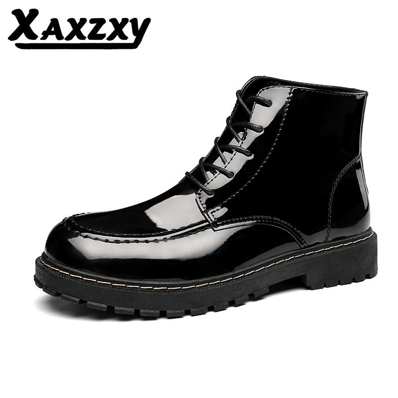 Explosive Style Bright Leather Shoes, Solid Color Korean Boots, Stylish Casual Men'S Shoes, Comfortable Soft Men'S Boots Boys Boots Fashion Shoes From