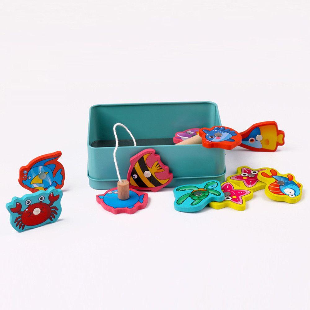 15st Spiel Educational Outdoor-Spielzeug Fisch Holz magnetischen Angeln Spielzeug-Set Fisch Eltern-Kind-Exchange-interaktives Spielzeug juguetes