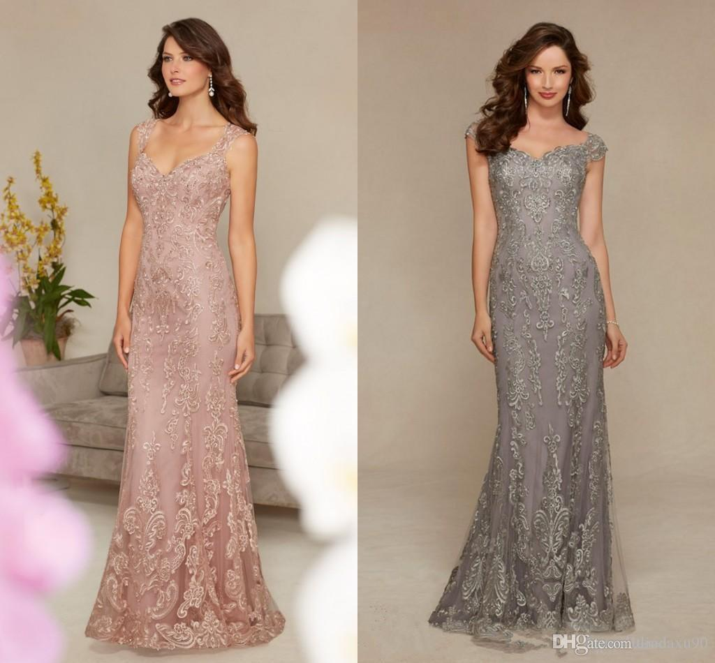 Modest Lace Appliques Long Mermaid Mother of the Bride Dresses V Neck Formal Evening Party Gowns for Wedding Guest Dress