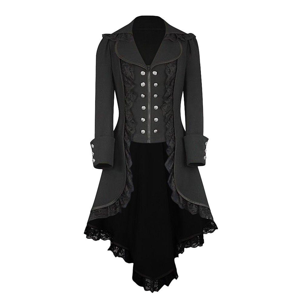 Vintage Elegant Fashion Long Coat Retro Lace Trim Coat Trench Women Coats Autumn Winter Irregular Tailcoat Outerwear 10Dec 17