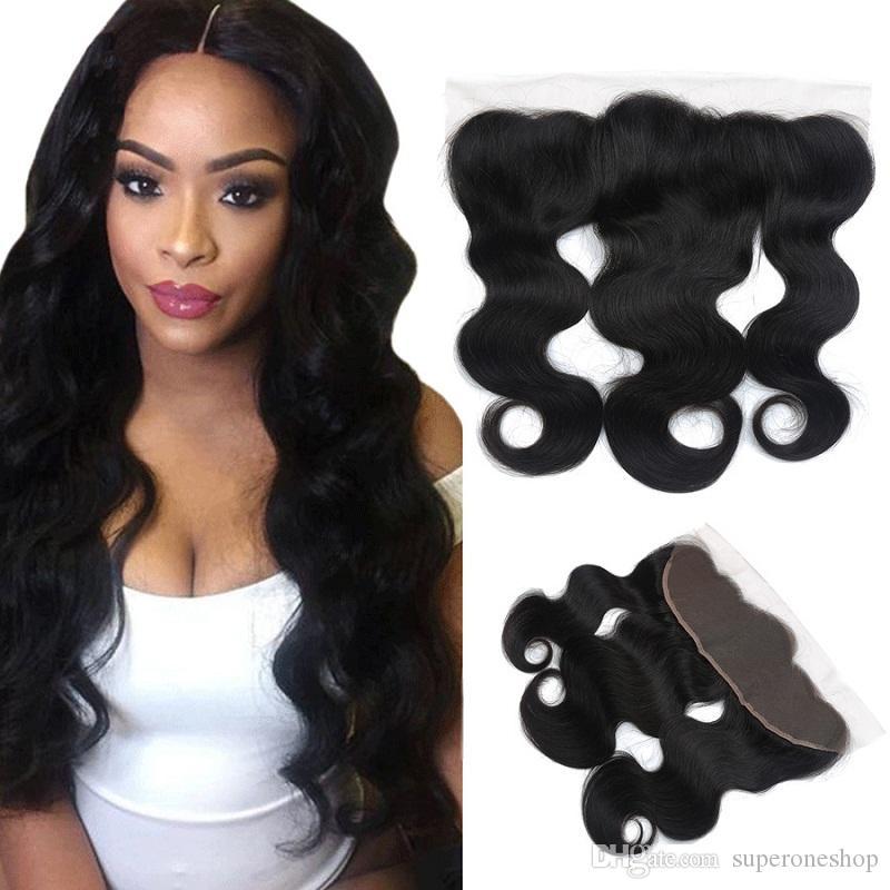 1B Natural Color Human Virgin Hair 100% Hand Tied 4x13 lace frontal body wave Brazilian Hair Closure