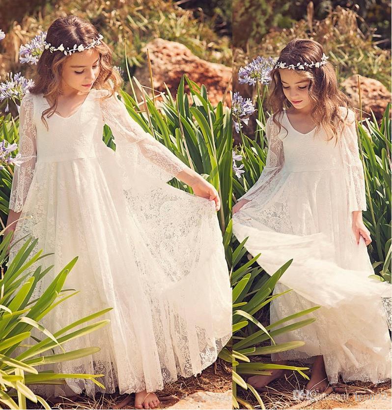 Yeni Plaj Çiçek Kız Dantel Elbise Beyaz Fildişi Boho ilk komünyonu Elbise İçin Küçük Kız V-Yaka Uzun Kollu A-Line Ucuz Çocuk Gelinlik