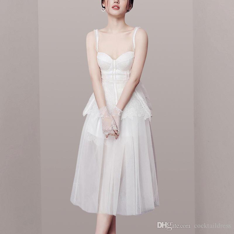 2019 new French court strapless white sexy gauze skirt fairy female dress white quinceanera cocktail party dress for girl debutante