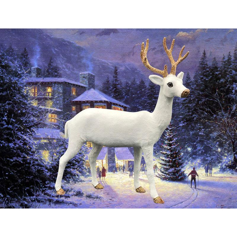 Christmas Simulation White Deer Plush Xmas Moose Dolls White Reindeer Festive Decorations Ornaments New Year Gift Drop Shipping