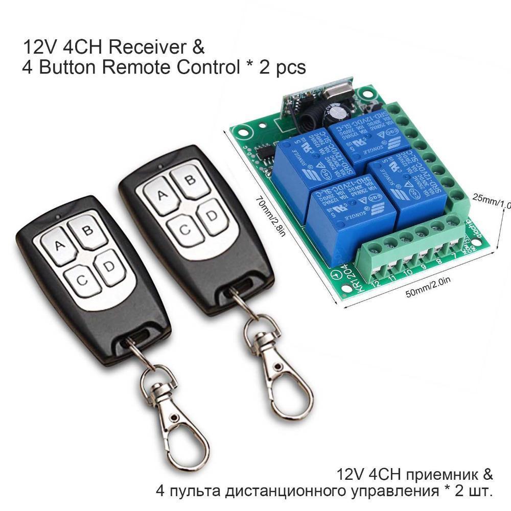 50pcs Wireless Remote Control Switch CC 12V 4CH relè modulo di ricevente Con 4 canali telecomando RF 433 Mhz Trasmettitore