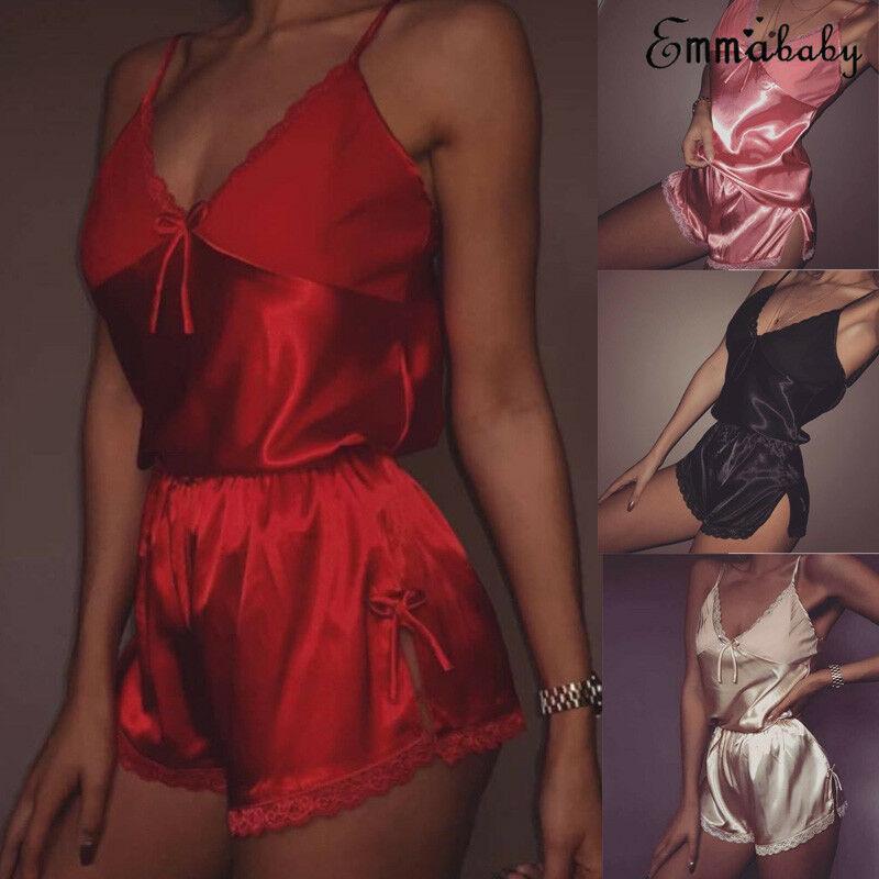 Mulheres Sexy Lingerie definir Lace Top Curto shorts de pijama sleepwear conjunto de cetim pijama Nightwear pijama femme Noite terno