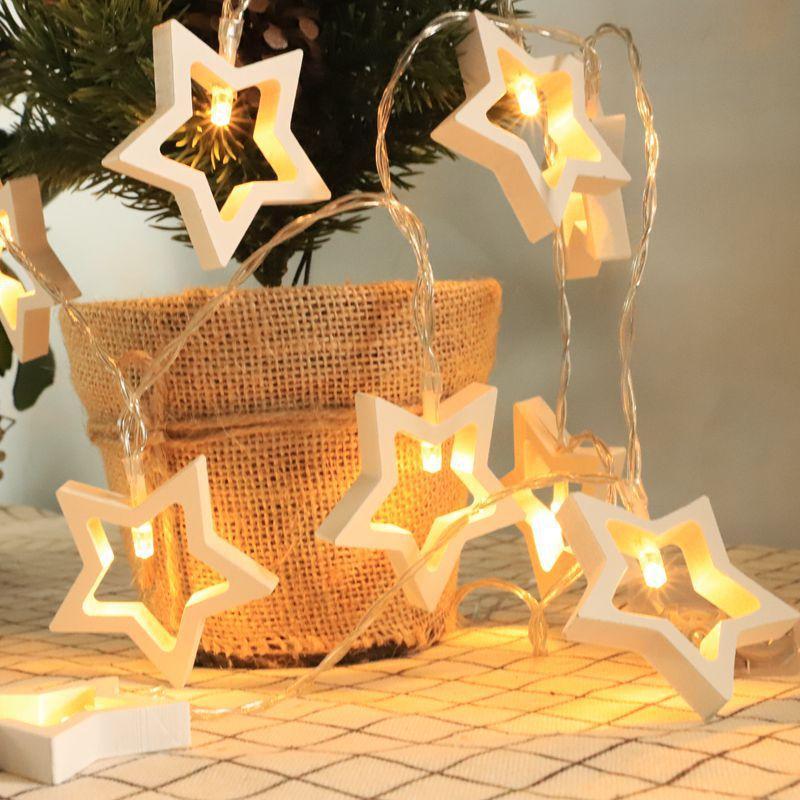 Decoración de Navidad luces LED Júpiter árbol de navidad de madera decorativas luces Noel Navidad 2019 Adornos colgante