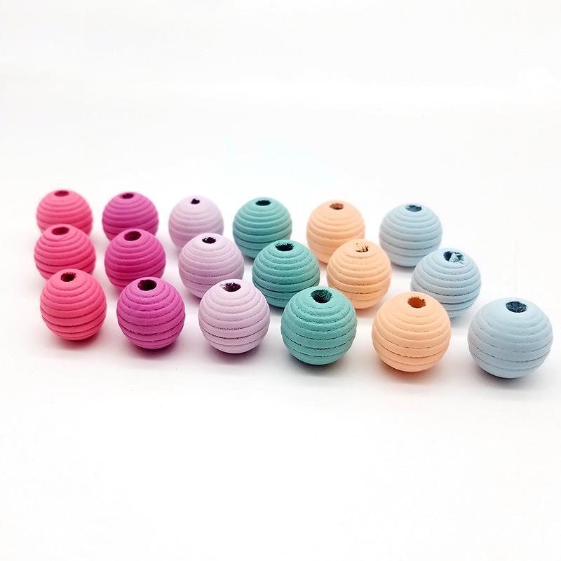 20pcs / pacchetto fai da te accessori fatti a mano perline fai da te 20MM righe colorate filettato perline di legno color caramella filettati perline di legno