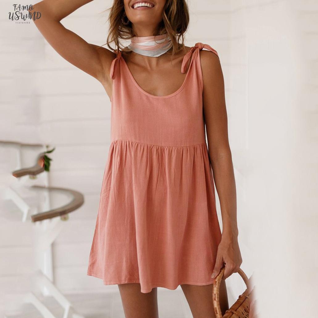 Moda Yaz Pamuk Ve Keten Dantel Up Strappy Kolsuz Kısa Mini Elbise Gevşek Sundress Kadınlar Casual Parti Plaj Elbise Vestido Festa