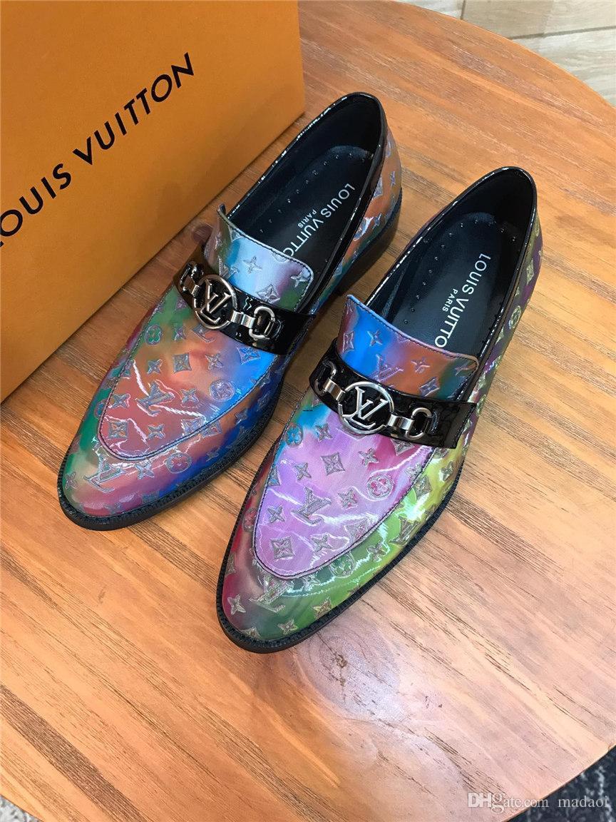 20ss Luxury Brands Top in pelle Moda Uomo business scarpe da sera abito da sposa in scarpe da cerimonia uomo Mocassini Slip On Men Shoes