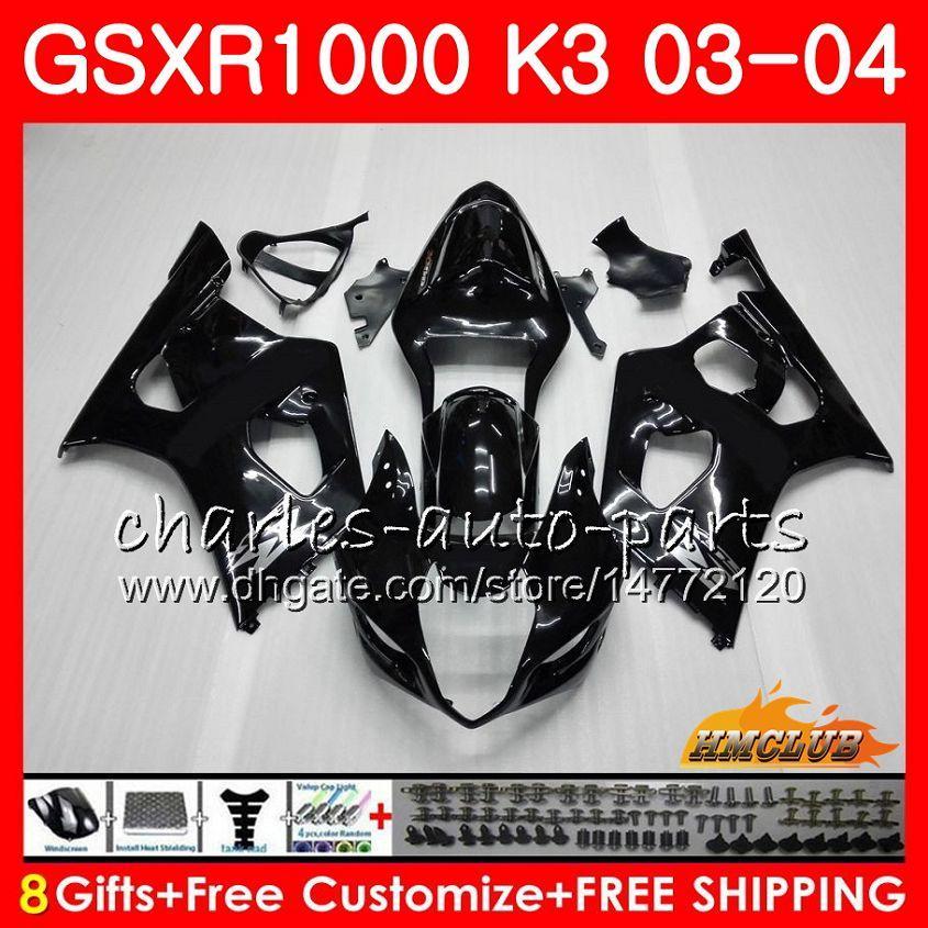 Cadre Pour SUZUKI noir brillant GSX-R1000 GSXR 1000 GSXR1000 03 04 Carrosserie 15HC.5 Carrosserie GSX R1000 K3 GSXR-1000 03 04 2003 2004 Kit carénages