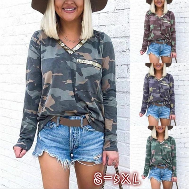 Плюс Размер Tshirts Камуфляж Printed V шеи Карманный дизайн с длинным рукавом Повседневная одежда Женский Осень Womens конструктор