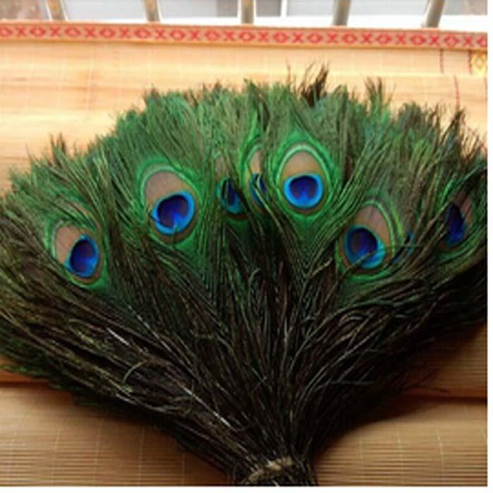 100pcs / lot 10-44inch / 25-110cm alta calidad hermosa de pavo real plumas naturales ojos para la ropa de bricolaje decoración de la boda