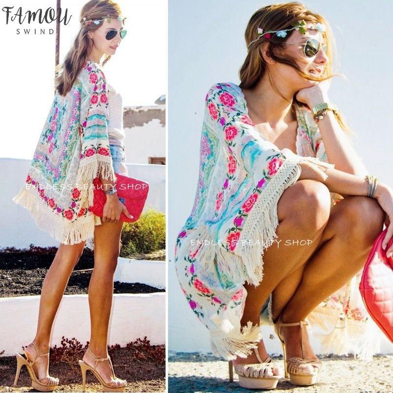 Jacket Vestuário Womens New Moda feminina Boho Fringe quim Cardigan borlas Praia Tampa Tassel Up Cabo