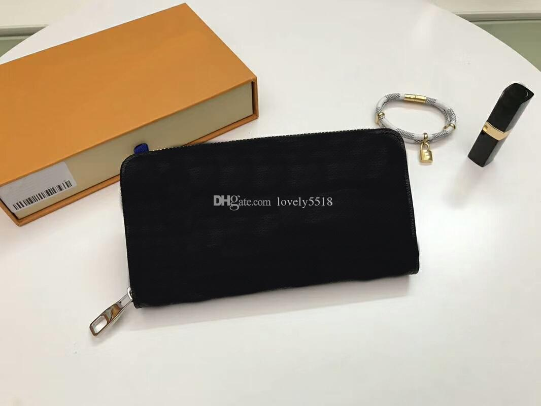 Fashion Women/Men Card Holder Purses 60017 Long Single Zipper Famous Brand Brazza Genuine Leather wallets With Box dust bags C36#7