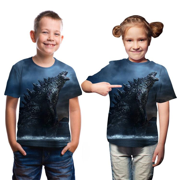 Godzilla Childrens T-shirt King of the Monster Digital Printing round Neck Childrens Short Sleeve Parent-Child Wear