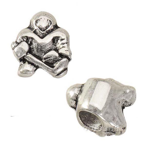 Encantos Beads Fit Europeu pulseiras colares pingentes de prata retro Humano Hóquei no Gelo Liga Apreciação Jóias Free Ship 12 * 11 * 8mm 100pcs
