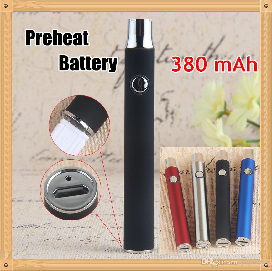 LO Pil 380 mAh Ön Isıtma Değişken Gerilim Alt Şarj 510 Konu Vape Kalem Pil Buharlaştırıcı Kalem DHL