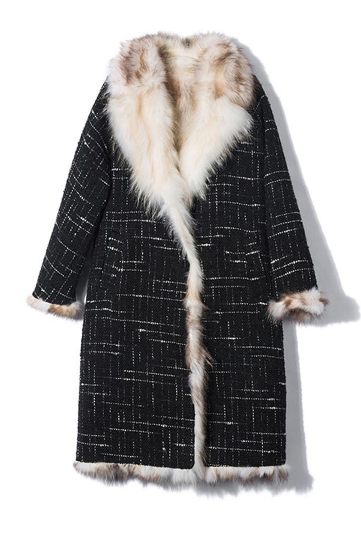 여성용 모피 가짜 2021 자연 너구리 라이닝 RF0189와 도착 럭셔리 레알 망토 모직 코트