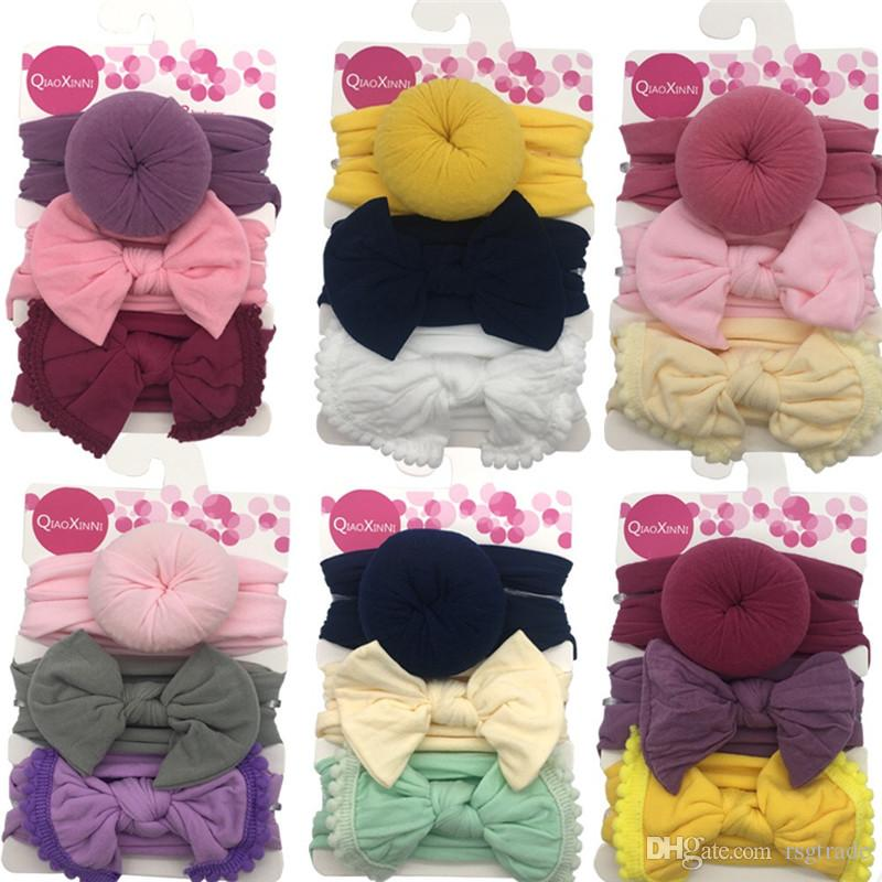 Free DHL Baby Girls Knot Ball Donut Headbands Bow Turban 3pcs/set Infant Elastic Hairbands Children Knot Headwear kids Hair Accessories