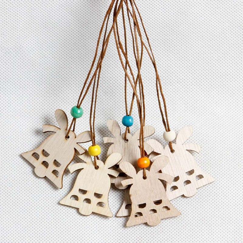 زينة عيد الميلاد 1 قطعة جوفاء الثلج أجراس خشبية شنقا المعلقات الحلي الخشب الطبيعي شجرة عيد الميلاد الأيائل حزب الاطفال هدية