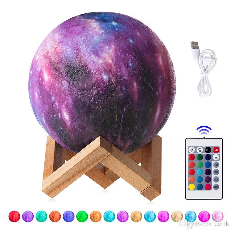 15 CM 3D Impresso Céu Estrelado Planeta Lâmpada Da Lâmpada Da Lua 3/16 Cores Mudar Levou Luz Da Noite Galaxy Lâmpada Quarto Decoração Presente Criativo