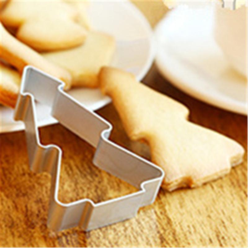 High quality Christmas Tree Shaped Aluminium Mold Buscuit Tools Cookie Cake Mold Jelly Pastry Baking Cutter Mould Tool